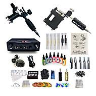 baratos Kits de Tatuagem para Iniciantes-BaseKey Máquina de tatuagem Conjunto de Principiante - 2 pcs máquinas de tatuagem com 7 x 15 ml tintas de tatuagem, Profissional, Conjuntos Liga LCD de alimentação No case 20 W 2xMáquina Tatuagem