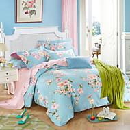 billige Blomstrete dynetrekk-Sengesett Blomstret Polyester / Bomull Trykket 4 deler