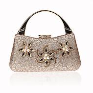 baratos Clutches & Bolsas de Noite-Mulheres Bolsas Terylene / Liga Bolsa de Mão Detalhes em Cristal Preto / Rosa / Prateado