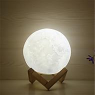 billige Lamper-1pc MOON 3D nattlys / Nursery Night Light Varm hvit / Hvit / Gul Usb For barn / Oppladbar / Mulighet for demping Batteri / <5 V