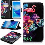billiga Mobil cases & Skärmskydd-fodral Till Huawei Y9 (2018)(Enjoy 8 Plus) / Enjoy 7S Plånbok / Korthållare / med stativ Fodral Flamingo Hårt PU läder för Huawei Y7(Nova Lite+) / Huawei Y6 (2018) / Huawei Y6 (2017)(Nova Young)