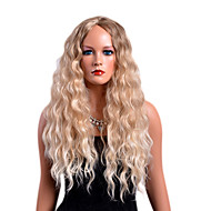 Blondeparykker af menneskehår Krøllet Blond Mellemdel Syntetisk hår Moderigtigt Design / Fest Blond Paryk Dame Lang Lågløs Jordbær Blond / Afbleget Blond