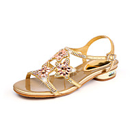 Žene Cipele PU Proljeće Ljeto Gladijatorke Sandale Ravna potpetica Peep Toe Štras Kristal za Zabava i večer Zlato Crvena Plava