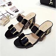 Žene Cipele PU Ljeto Udobne cipele Sandale Blok pete Otvoreno toe Štras Obala / Crn