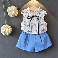Baby Pige Blå & Hvid Ensfarvet / Blomstret Uden ærmer Tøjsæt