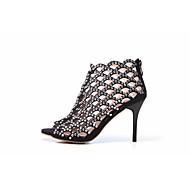 abordables Talons pour Femme-Femme Chaussures Cuir Printemps été Gladiateur Chaussures à Talons Talon Aiguille Bout ouvert Strass Noir / Amande / Soirée & Evénement