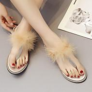 cheap Women's Sandals-Women's Shoes PU(Polyurethane) Spring & Summer T-Strap Sandals Flat Heel Purple / Almond