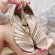 Žene Cipele PU Ljeto Udobne cipele Sandale Kockasta potpetica Zlato / Pink / Crvena