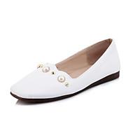 abordables Chaussures Plates pour Femme-Femme Chaussures Similicuir Printemps / Automne Confort Ballerines Talon Plat Bout carré Imitation Perle Noir / Jaune / Rose