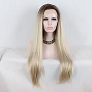 Prednja perika od sintetičkog čipke Ravan kroj Stepenasta frizura Sintentička kosa Curler i ravnalo Tamno smeđa zlatna plava Ombre Perika