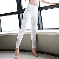 Dame Sexy Yoga bukser - Hvid, Sort Sport Helfarve Spandex, Net Højtaljede Tights / Leggins Løb, Fitness, Træningscenter Sportstøj Åndbart, Hurtigtørrende, Blød Høj Elasticitet Tynde