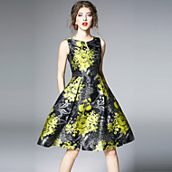 女性用 ヴィンテージ ストリートファッション Aライン ドレス - プリント, フラワー 膝丈
