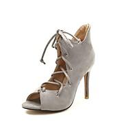 Χαμηλού Κόστους Lace Up Sandals-Γυναικεία Παπούτσια Φλις Καλοκαίρι Ανατομικό Σανδάλια Τακούνι Στιλέτο Ανοικτή Μύτη Μαύρο / Ανοικτό Γκρίζο / Μπλε / Πάρτι & Βραδινή Έξοδος