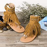 baratos Sapatos Femininos-Mulheres Sapatos Camurça / Couro Ecológico Verão Conforto Sandálias Caminhada Sem Salto Dedo Apontado Mocassim Preto / Bege / Castanho