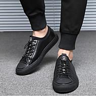 baratos Sapatos Masculinos-Homens Pele Primavera / Outono Conforto Tênis Preto