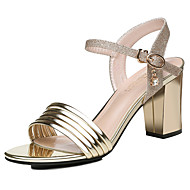 cheap -Women's Shoes Patent Leather Spring & Summer Basic Pump Sandals Chunky Heel Gold / Silver / Party & Evening