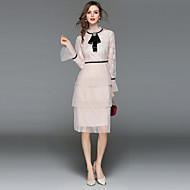 女性用 祝日 お出かけ ストリートファッション モダンシティ フレアスリーブ Aライン ドレス - レース, ソリッド 膝丈 スタンド