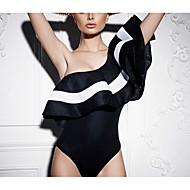 Dame - Ensfarvet / Farveblok Drapering Gade Bodysuit Sort og hvid