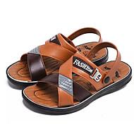 baratos Sapatos Masculinos-Homens Couro Ecológico Verão Conforto Sandálias Castanho Claro / Castanho Escuro