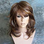 Pelucas sintéticas Rizado Minaj Estilo Corte a capas Sin Tapa Peluca Borgoña Medium Brown / Blonde de la fresa Pelo sintético Mujer Fiesta Borgoña Peluca Larga Peluca natural