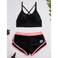 Mujer Look deportivo Deportivo Con Tirantes Blanco Negro Top corto Pierna de niño Bikini Bañadores - Bloques Cruzado S M L Blanco
