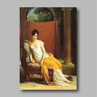 billiga Människomålningar-Hang målad oljemålning HANDMÅLAD - Människor Klassisk / Vintage Inkludera innerram / Sträckt kanfas