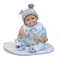 NPKCOLLECTION Reborn-dukker Babydrenge 24 inch Silikone - Nyfødt Gave Børnesikker Ikke Giftig Kunstig implantation Blå øjne Tippede og forseglede negle Børne Drenge / Pige Legetøj Gave