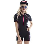 SBART 女性用 ダイブスキンスーツ UVサンプロテクション 抗放射線 耐久性 ナイロン エラステイン 半袖 スイムウェア ビーチウェア ダイビングスーツ ソリッド フロントファスナー 水泳 潜水 サーフィン / マイクロエラスティック