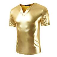 Høj krave Tynd Herre - Ensfarvet Bomuld T-shirt / Vælg venligst én størrelse over din normale størrelse. / Kortærmet