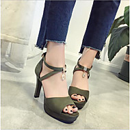 Mulheres Sapatos Camurça Verão Conforto Sandálias Salto Robusto Peep Toe Presilha Preto / Verde