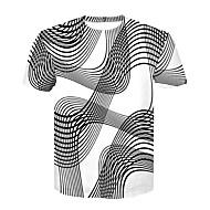 Homens Camiseta - Bandagem Básico / Moda de Rua Estampado, Estampa Colorida Decote Redondo Preto & Branco Branco XXL / Manga Curta / Verão