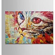 billiga Djurporträttmålningar-Hang målad oljemålning HANDMÅLAD - Abstrakt / Tecknat Moderna Duk