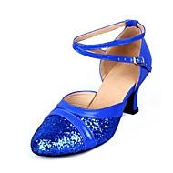 billige Moderne sko-Dame Moderne sko Fuskelær Sandaler Strå Kubansk hæl Kan spesialtilpasses Dansesko Sølv / Rød / Blå