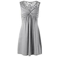 女性用 プラスサイズ ベーシック 特大の シフト ドレス - レース, ソリッド ミニ