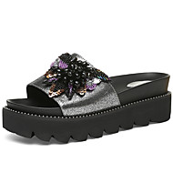 baratos Sapatos Femininos-Mulheres Sapatos Couro Envernizado Verão Conforto Chinelos e flip-flops Creepers Pedrarias / Lantejoulas Preto / Prateado