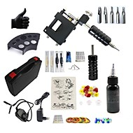 billige Tatoveringssett for nybegynnere-Tattoo Machine Startkit - 1 pcs tattoo maskiner med 1 x 30 ml tatovering blekk, Stille, Justerbar passform, Hurtiglading Aluminium Legering Strøm Kabel Etui inkludert 20 W 1 x roterende