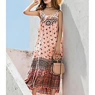 Damen Strand Lose Swing Kleid Maxi U-Ausschnitt