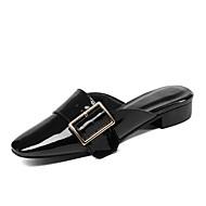 baratos Sapatos Femininos-Mulheres Sapatos Pele Napa Primavera Verão Chanel Tamancos e Mules Salto Baixo Dedo Apontado Presilha Preto / Laranja / Bege