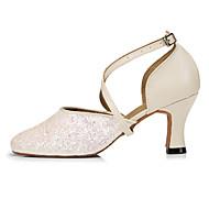 billige Moderne sko-Dame Moderne sko Paljett Høye hæler Strå Kubansk hæl Dansesko Beige