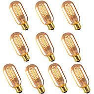 billige Glødelampe-10pcs 40 W E26 / E27 T45 Varm hvit 2300 k Kontor / Bedrift / Mulighet for demping / Dekorativ Glødende Vintage Edison lyspære 220-240 V