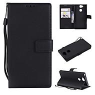 billiga Mobil cases & Skärmskydd-fodral Till Sony Xperia L2 / Xperia L1 Plånbok / Korthållare / Lucka Fodral Enfärgad Hårt PU läder för Xperia XZ1 Compact / Sony Xperia XZ1 / Sony Xperia XZ