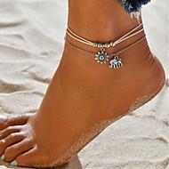 levne -Dámské dvouvrstvé Dvojité Nákotník Kožené Slon Slunce Lahůdka dámy Cikánské Nákotník Šperky Stříbrná Pro Dovolená Plážové Bikini