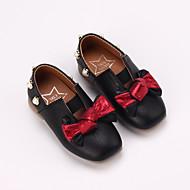 baratos Sapatos de Menina-Para Meninas Sapatos Couro Ecológico Primavera Verão Conforto Rasos Caminhada Laço / Pérolas Sintéticas para Infantil Preto / Bege / Rosa claro