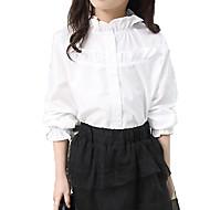 Kinder Mädchen Grundlegend / Street Schick Alltag Solide Rüsche Langarm Baumwolle / Polyester Hemd Weiß