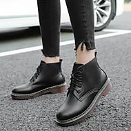 baratos 2018 Botas Femininas-Mulheres Sapatos Pele Inverno Conforto Botas Salto Baixo Branco / Preto