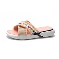 baratos Sapatos Femininos-Mulheres Seda Verão Conforto Chinelos e flip-flops Sem Salto Ponta Redonda Pedrarias Preto / Rosa claro