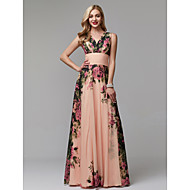 Victoria Dress Style A-Line V Neck Floor Length Chiffon Prom Dress with Pattern / Print / Ruched by TS Couture®