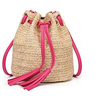 tanie Torby na ramię-Damskie Torby Słomkowy Torba na ramię Frędzel Blushing Pink / Fuchsia / Brown