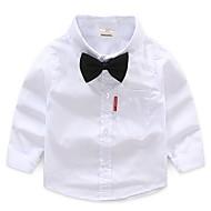 Infantil Para Meninos Básico Diário Sólido Manga Longa Padrão Algodão Camisa Branco