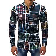 Homens Camisa Social Básico Estampado, Xadrez Algodão Arco-íris US42 / Manga Longa